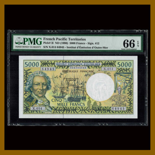 French Pacific Territories 5000 (5,000) Francs, 1996 P-3i Sig #i PMG 66 EPQ Unc