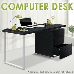 Veneer Office Study Student Computer Desk Metal Leg Three 3 Drawer Cabinet Black
