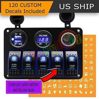 Car Marine Boat 5-Gang Waterproof Circuit Blue LED Rocker Switch Panel Breaker