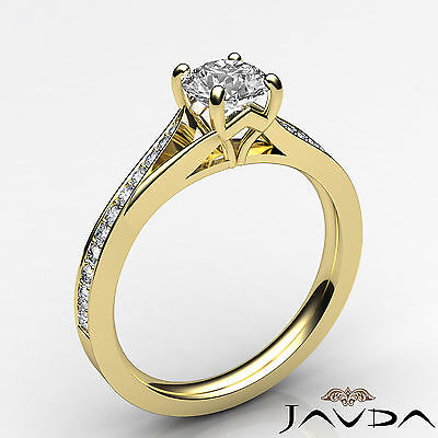 Cathedral Split Shank Round Diamond Engagement Pave Set Ring GIA D VS1 0.85 Ct 1