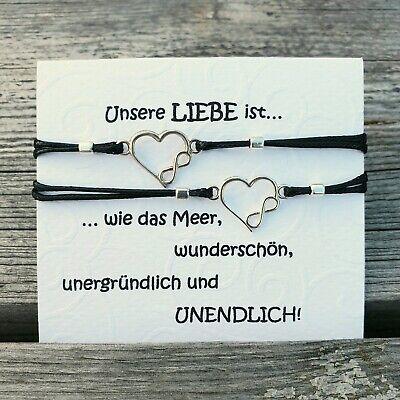 Unendlich zart Herz Armband Silber 925 Partnerschaft Freundschaft Mutter Tochter