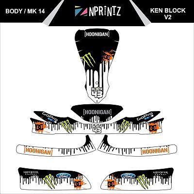 MK 14 KEN BLOCK V2 FULL KART STICKER KIT - KARTING - OTK - EVK-CADET-ROOKIE
