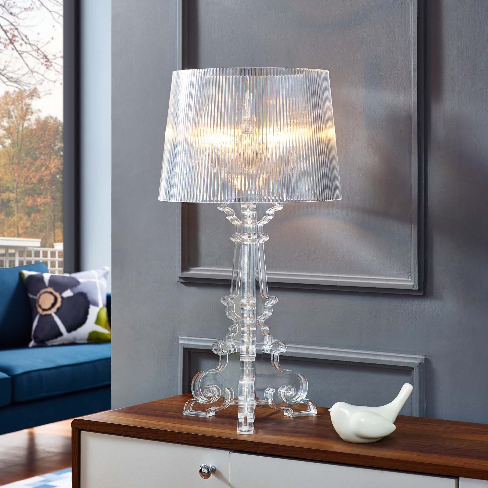 Modern French Transparent Acrylic 29 Table Lamp In Clear