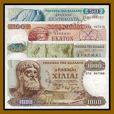 Greece 50 100 500 1000 Drachmai Set, 1964-1970 P-195/196/197/198 Unc