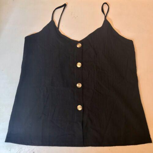 Black Button Down Spaghetti Strap Tank Top Blouse Size XL