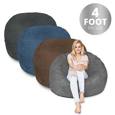 - 4 ft. Bean Bag Seat Foam Filled Chair Lounger Faux Suede Microfiber Multicolor
