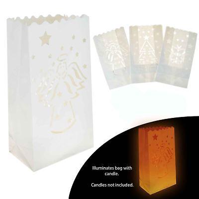 Christmas Paper Candle Bags Tealight Lantern Light Luminary Wedding Xmas - Paper Bag Luminaries Christmas