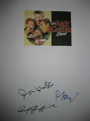 The Andy Griffith Show Signed TV Script X3 Ron Howard Don Knotts reprint Sermon