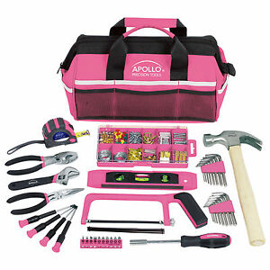 Pink tool piece set tools box ladies girls household for Garden tool set for women