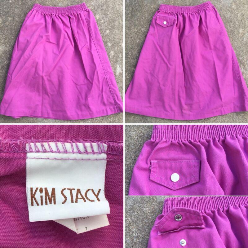 Vintage Kim Stacy Skirt Made In USA 70s 80s Girls 7 Elastic Waist