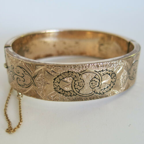 Victorian Small Hinged Oval Bangle Bracelet GF Gold Filled [6016]