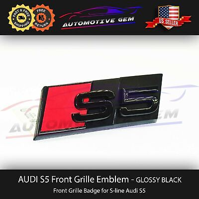 Audi S5 Front Grill Emblem Glossy Black S line Hood Grille Badge A5 S5 Nameplate