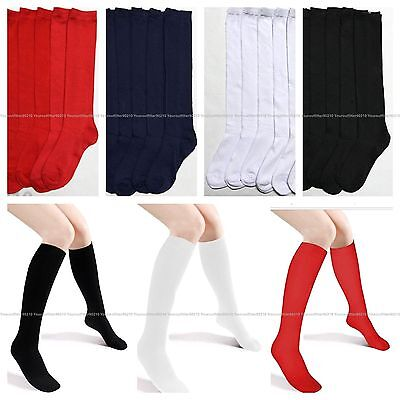 12 Pairs Knee High Lot Uniform School Socks Black Navy White Junior Girls 6-8 Junior High Uniforms