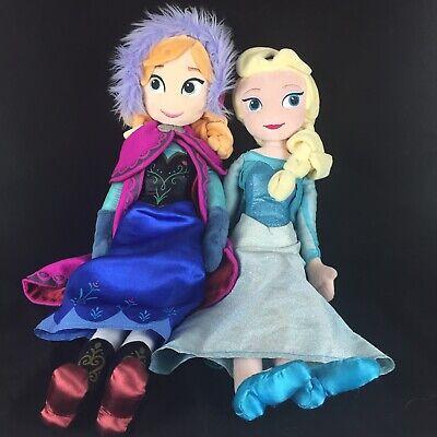 "Disney Store Frozen ANNA And ELSA Soft Doll Plush 20"" Stuffed Animal Toy Lot 2"