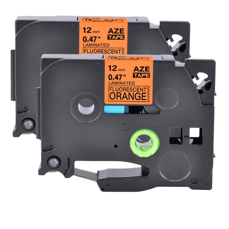 2PK Label TZe-B31 TZ-B31 Black on Fluorescent Orange 12MM For Brother PT-D200