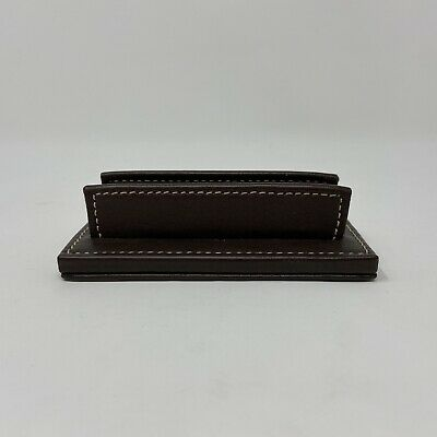 Genuine Coach Brown Leather Desk Top Business Card Holder Display