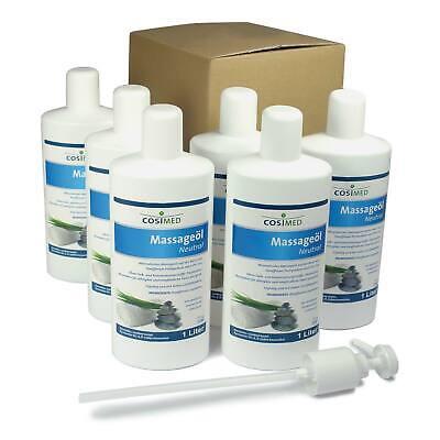 cosiMed Massageöl neutral 6 x 1 l Paket | Massage Lotion Wellness Neu+OVP