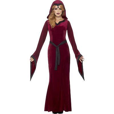 Red Medieval Hooded Vampiress Halloween Womens Ladies Fancy Dress - Red Medieval Dress Costume