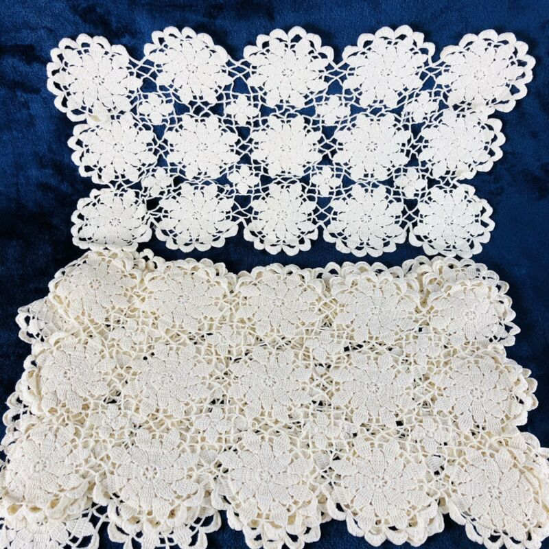 Lot (5) Knitted Lace Placemats Tray Doilies  Runners White Cotton Vintage