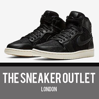 Damen Nike Air Jordan 1 Retro Hi UK Größe 6.5 Schwarz Leder Turnschuhe AH7389001