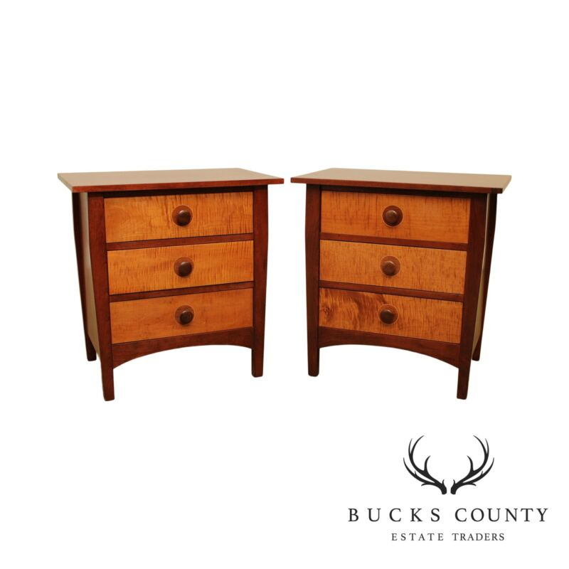 Stickley Mission Collection Cherry & Tiger Maple Pair 3 Drawer Nightstands