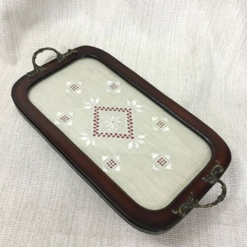 Vintage Wooden Serving Tray Handmade Lefkara Lace Embroidery Panel Cyprus