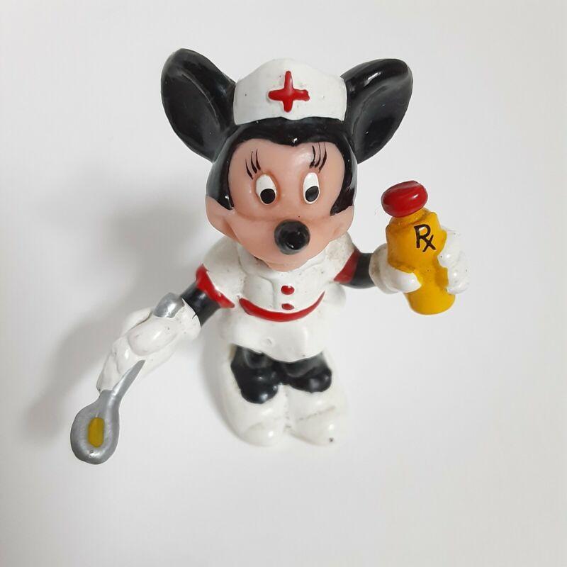 """Vintage Minnie Mouse Nurse Figure Walt Disney Productions Hong Kong Rubber 2"""""""