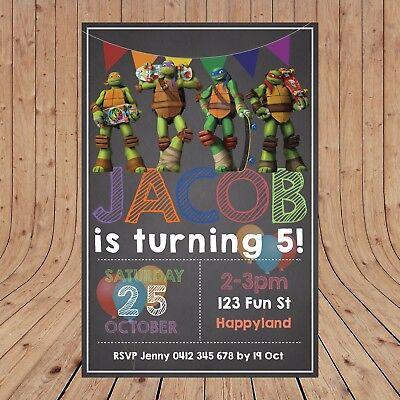 Personalised DIGITAL TEENAGE MUTANT NINJA TURTLES Kids Invitations YOU PRINT - Ninja Turtles Invitations