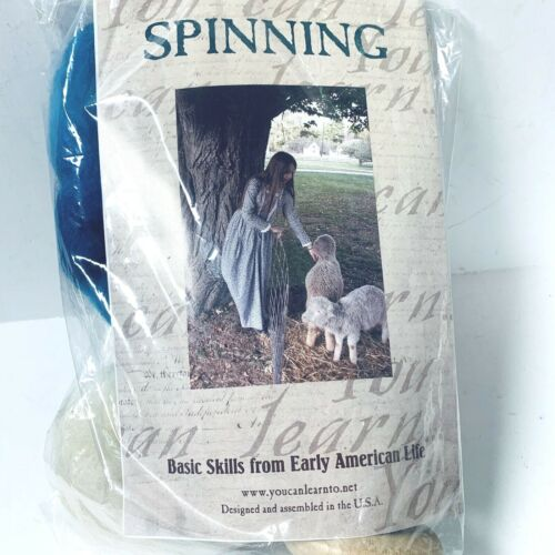 Drop Spindle Yarn Spinning Kit - Made in USA includes Natural and Dyed Wool- NEW
