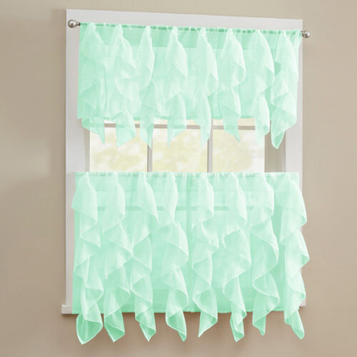 Sheer Voile Vertical Ruffle Window Kitchen Curtain Tiers or Valance Mint Curtains & Drapes