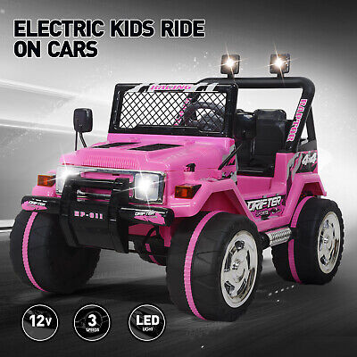 12V Jeep Electric Ride-On Car For Children W/Parent Control Battery Powered Pink