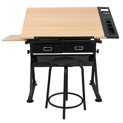 Drafting Storage (USED Height Adjustable Drafting Draft Desk Drawing Table w/Stool Storage Drawer )