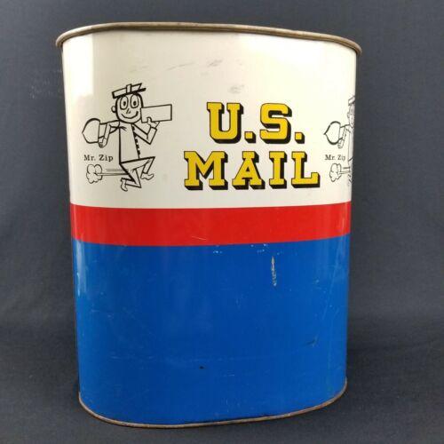 Vintage 1960s or 70s Mr. Zip U.S. Mail Memorabilia Metal Trash Can Waste Basket