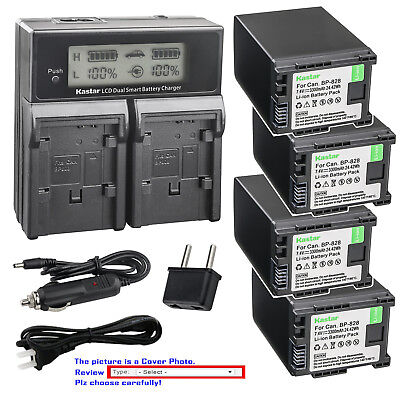 Kastar Battery LCD Dual Fast Charger for Canon BP-820 BP-828 & Canon XA25 Camera