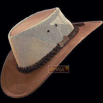 ●oZtrALa● Hat Pu-Suede Leather Mesh Felt Mens Cowboy Golf Driza-Bone AUSTRALIAN●