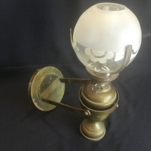 Antique Kosmos Brenner Brass Gimbal Counterbalance Maritime Ships Lamp Sconce