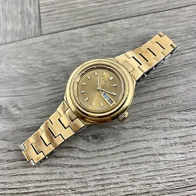 Vintage 1970's Gold Plated Seiko Ladies Automatic Hi-Beat 2206-0159 Running