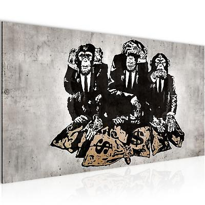 Bild Bilder Wandbild XXL - 100x40 cm Banksy Affe - Kunstdruck Leinwand aus Vlies