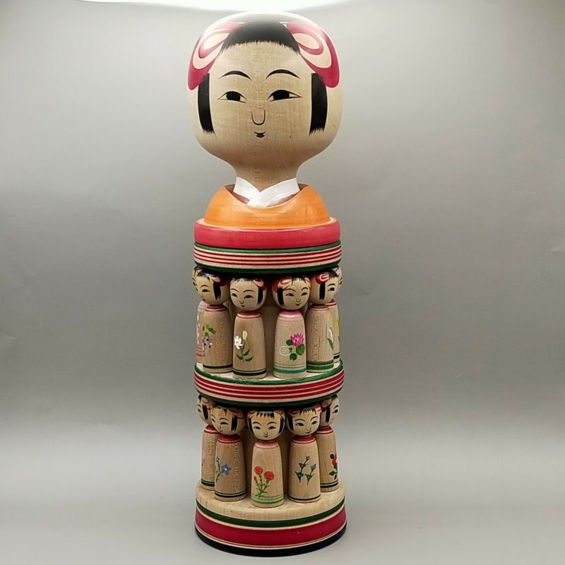 Japanese wooden doll Kokeshi Mandara with eighteen kokeshi  Konno Akihiro