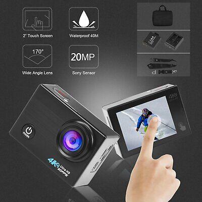 4K Sports Action Camera 20MP WiFi HD Touch Screen Helmet 40M Waterproof Go Pro