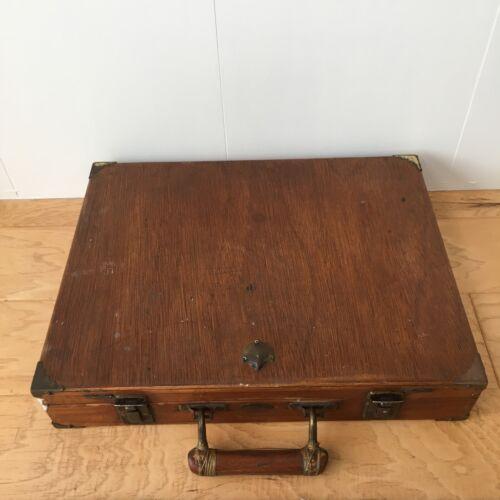 Vintage Wood Artist Traveling Paint Box Supplies Case Metal Hardware Dovetail