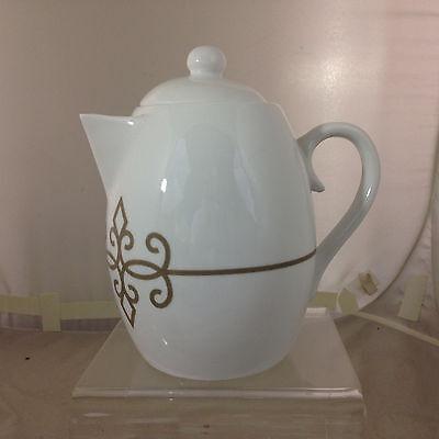 2015 Starbucks TAZO White Porcelain Teapot ROCOCO TRIM