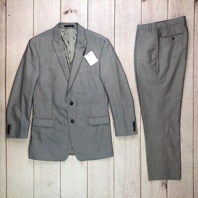NWT Calvin Klein Men's 42 Gray Slim Fit Wool Mohair Blazer Slacks 34 Pant Suit Suit 42 Slacks