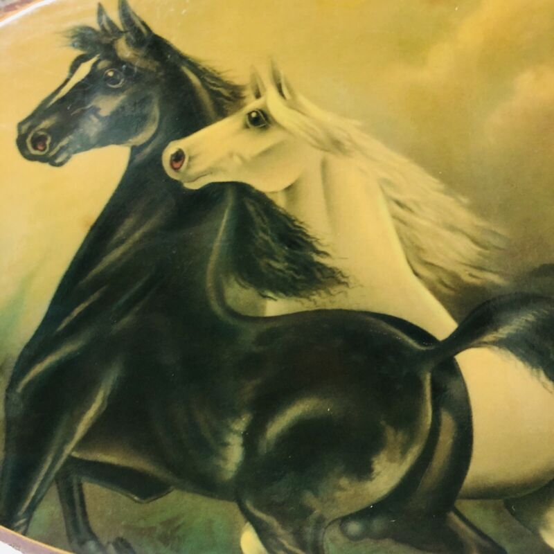 Vintage WOOD SLAB 2 Horses Painting Print  Decoupage Picture Wall Hanging