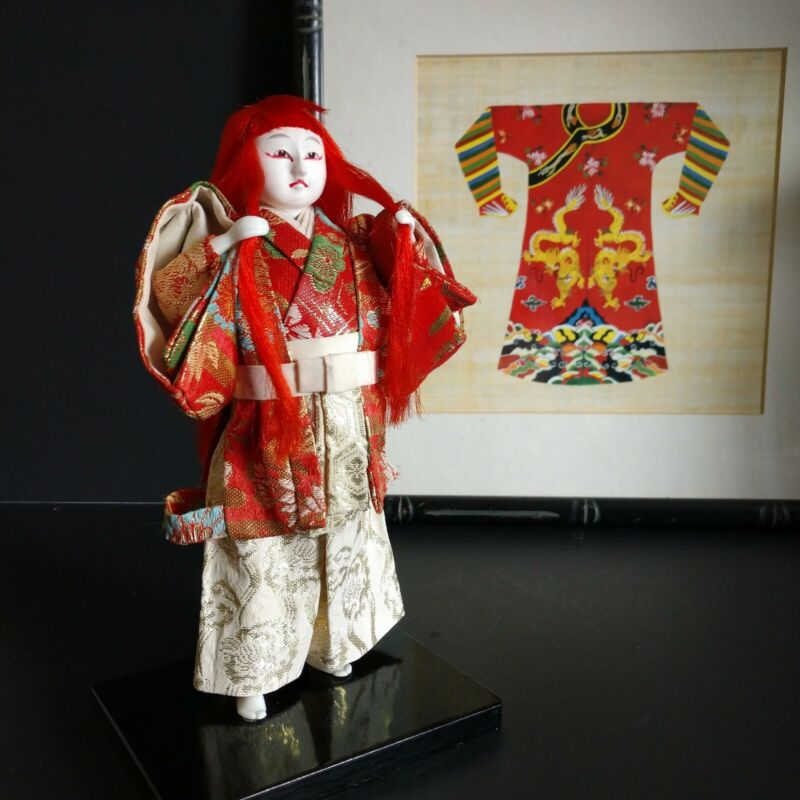 """Japanese Traditional Kimekomi Doll of Noh Theatre Character 8.75"""" Vintage 1960"""