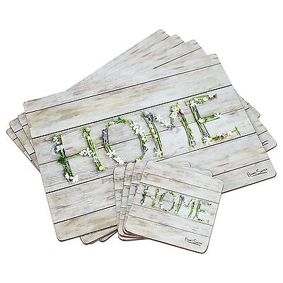 Set of 4 Placemats & Coasters Table Place Settings Mats Shabby Chic Floral Home