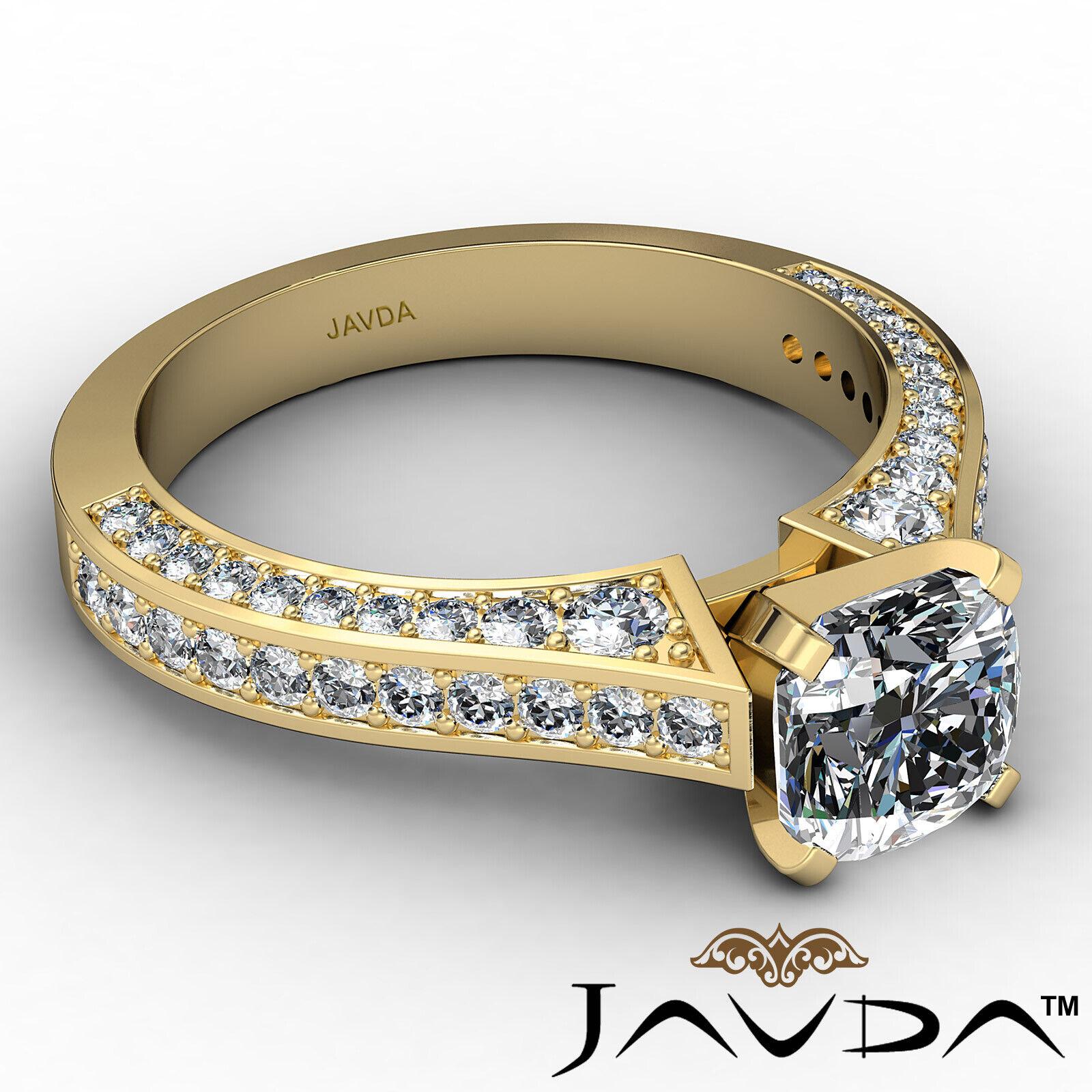 Cushion Diamond Engagement Pave Set Ring GIA J Color & VS2 clarity 1.82ctw 7