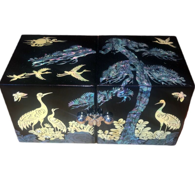 Mother of Pearl Inlay Black Lacquer Abalone Jewelry Box 6 Drawer Birds Butterfly