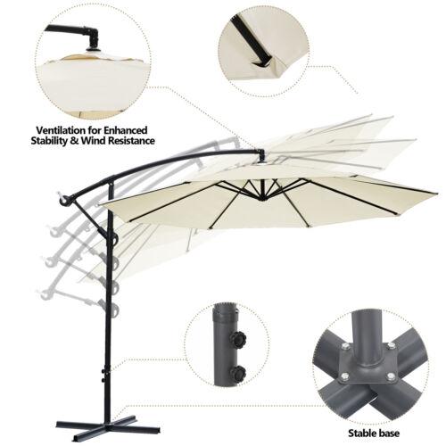 Offset Umbrella 10ft Cantilever Patio Umbrella Hanging Market Umbrella Outdoor Garden Structures & Shade