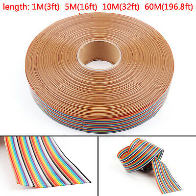 10 12 14 16 20 26 30 34 40pin Color Rainbow Ribbon Wire Cable Flat 1.27mm Usa
